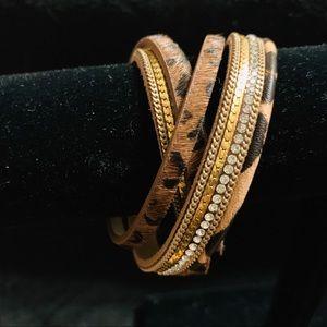 BoHo leather strip wrap bracelet/Choker